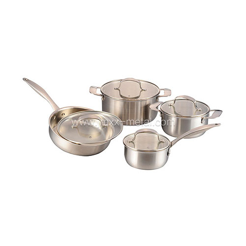 8 Pcs Tri-ply Cookware Set